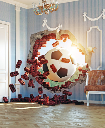 3d ball: soccer ball break wall in the luxury room. 3d creative concept Stock Photo