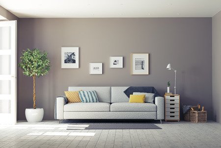 living room minimalist: modern interior.3d design concept Stock Photo