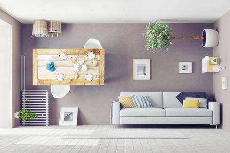 이상한 거실 인테리어. 3D 디자인 컨셉 스톡 콘텐츠 - 43295084