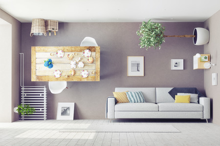 loco: extraño salón interior. Concepto de diseño 3d