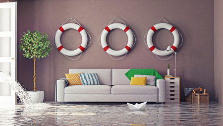 at home accident: flooding in  interior. 3d creative concept Stock Photo