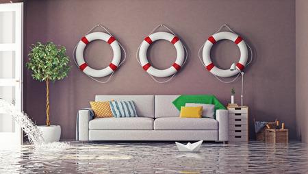 inondations dans l'intérieur. Concept créatif 3d