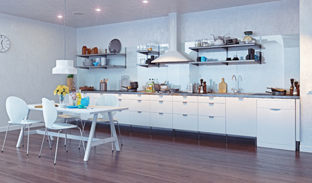 idea comfortable: modern kitchen interior. 3d design concept