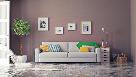 plomeria: inundaciones en el interior de lujo. Concepto creativo 3d Foto de archivo