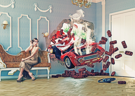 home insurance: red car breaks the wall in luxurious interior with frightened woman. 3d creative concept Stock Photo