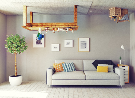 cabeza abajo: extraño salón interior. Concepto de diseño 3d