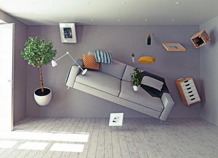 개념: 무중력 인테리어입니다. 3D 창의적인 개념 스톡 콘텐츠