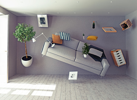levitation: zero-gravity interior. 3d creative concept