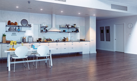 render residence: modern kitchen interior. 3d design concept