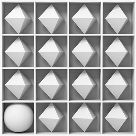 figures: white geometric figures on the shelves. 3d concept