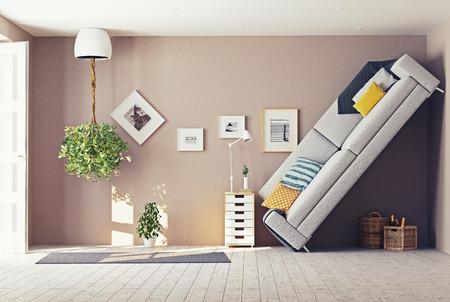 개념: 이상한 거실 인테리어. 3D 디자인 컨셉