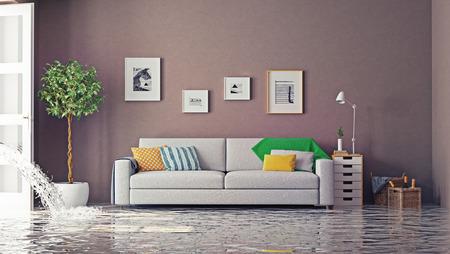 Berschwemmungen im luxuriösen Innenraum. 3d kreative Konzept Standard-Bild - 43295103