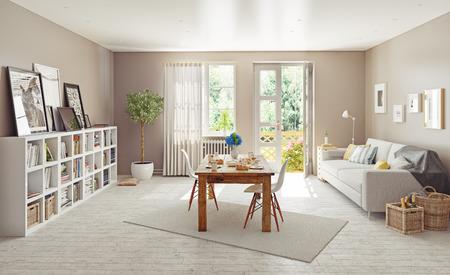 modern interior design. 3D concept
