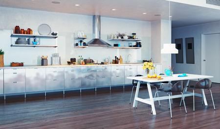 モダンなキッチン インテリアです。3 d デザイン コンセプト 写真素材