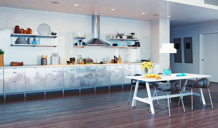 modern kitchen domestic home house: modern kitchen interior. 3d design concept