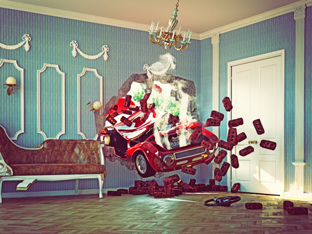 motor vehicle: red car breaks the wall in luxurious interior. 3d creative concept