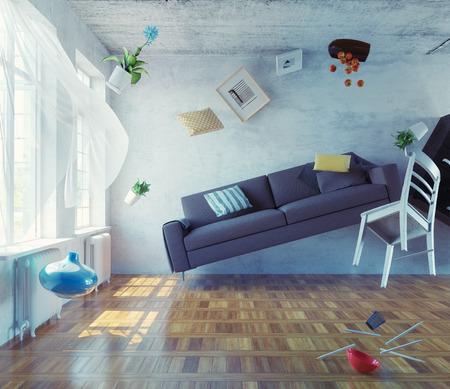 zero-gravity interior. 3d creative concept