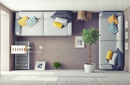 concepto: extraño salón interior. Concepto de diseño 3d