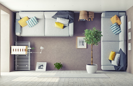 minimalist apartment: strange living room  interior. 3d design concept