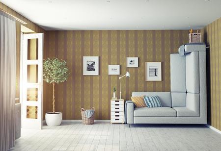 upside: strange living room interior. 3d design concept