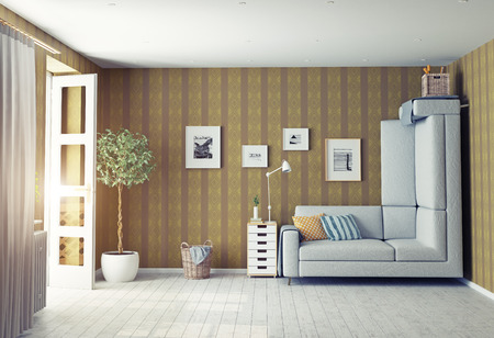 living: strange living room interior. 3d design concept