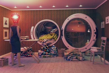 Vrouw op de rand van hysterie en de Big Wash. 3d Creatief concept Stockfoto