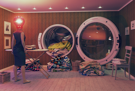 brink: Woman on the brink of hysteria and the Big Wash. 3d Creative concept
