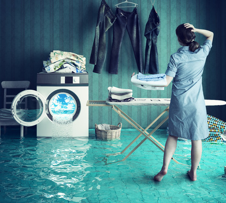 laundry room: Housewife`s dreams. Creative concept. Photo combination Stock Photo