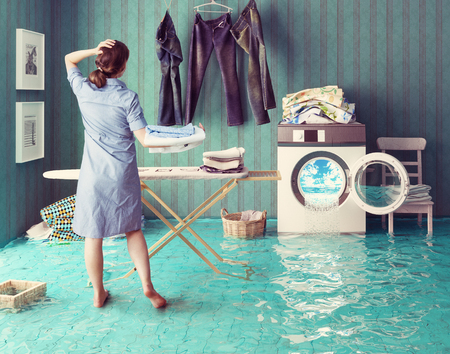 laundry room: Housewife dreams. Creative concept. Photo combination