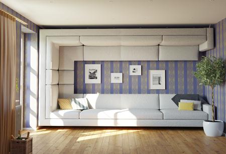 sofa: super sofa concept. living room interior. 3d design idea