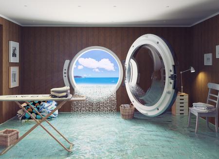 creative concept: Housewife dreams. Creative concept. Stock Photo