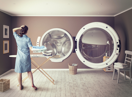 laundry room: Woman and the Big Wash. Creative concept Stock Photo