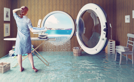 machine: Housewife dreams. Creative concept. Photo combination