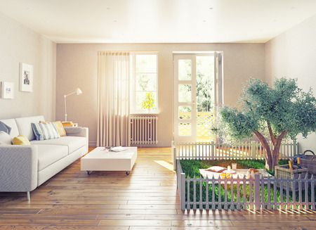 balcony window: picnic in a home interior. 3D concept illustration