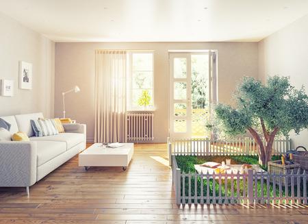 case colorate: picnic in un interno di casa. 3D concetto illustrazione