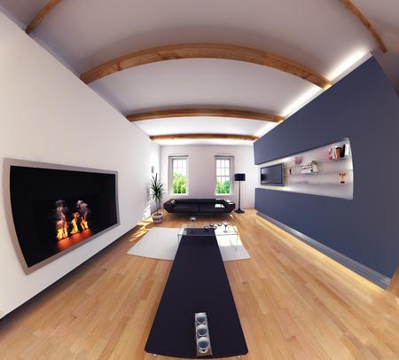 fish eye: modern design living room interior. Fish eye effect.3d design concept Stock Photo