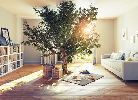 pique-nique dans un intérieur de maison. 3D concept illustration