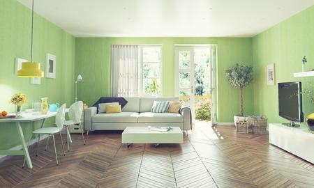 현대 거실 인테리어 디자인. 3D 렌더링 개념