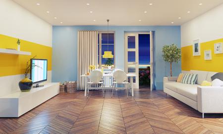 wall decoration: modern living room  interior design. 3D rendering concept