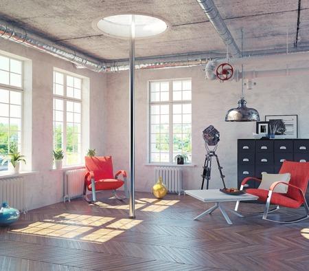 room decor: the modern loft interior with  fire pole  concept design (3d render)