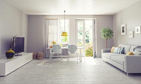 Moderna sala de diseño de interiores. Concepto de renderizado 3D Foto de archivo - 47173140