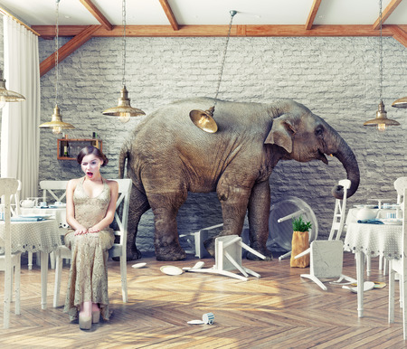 huge: the elephant calm in a restaurant interior. photo combination concept