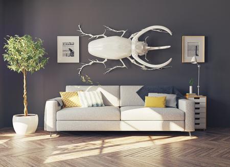 cazador: el escarabajo rinoceronte en el salón como una decoración. Concepto 3d