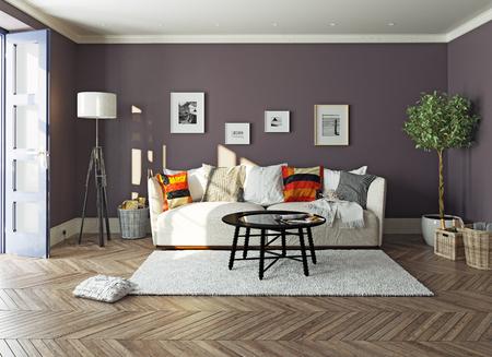moderne woonkamer interior.3d ontwerpconcept Stockfoto