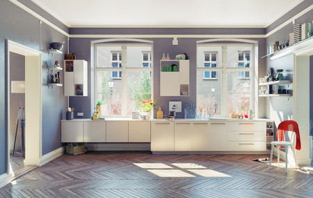 llave de agua: el interior de la cocina moderna. 3d Concepto