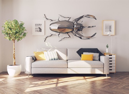 chrom: the rhino beetle in the living room as a decor. 3d concept