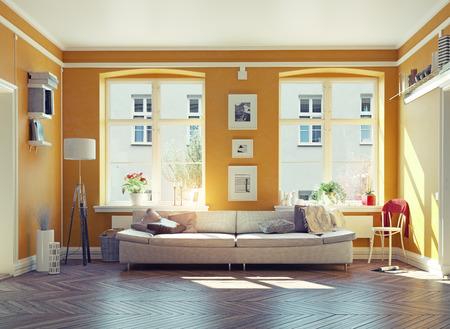 Das moderne Wohnzimmer interior.3d Design-Konzept Standard-Bild - 48937958