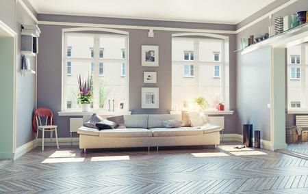 het moderne interieur.3d ontwerpconcept van de woonkamer Stockfoto