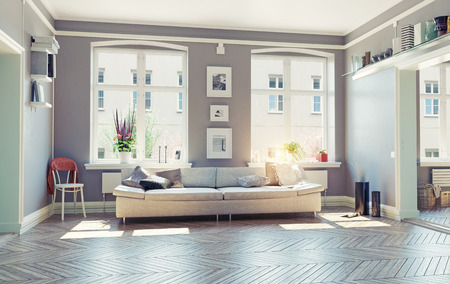luxury house: the modern living room interior.3d design concept