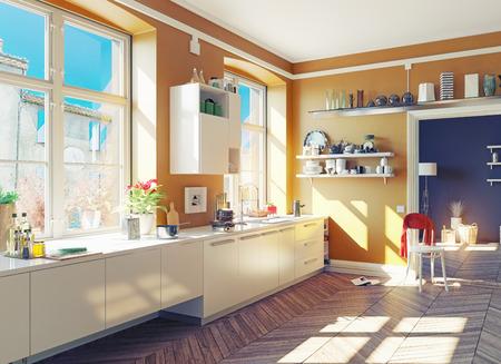 l'intérieur de la cuisine moderne. 3d render notion